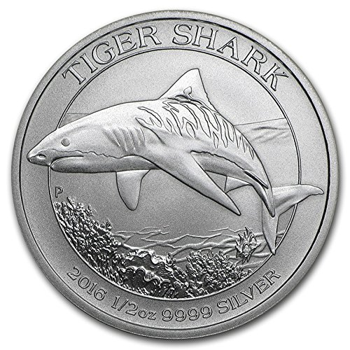 Australien Tiger Shark 2016 50 Cents 1/2 oz (15,55 GR.) Silber 999 Silver Coin Münze Tigerhai