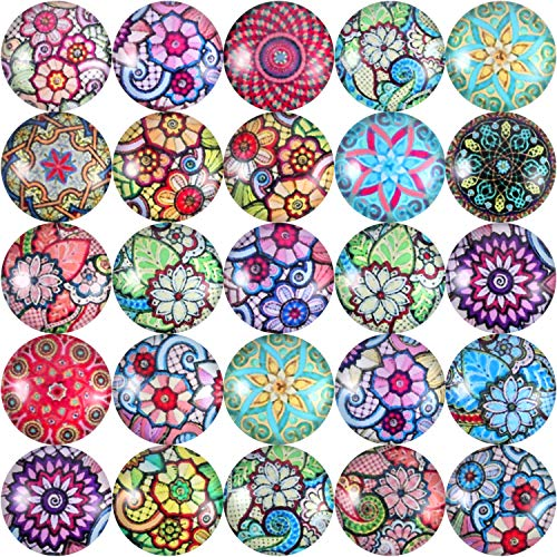 200 Pieces 12 mm Mixed Color Flower Pattern Mosaic Printed Glass Half Round Crafts Glass Mosaic for Jewelry Making