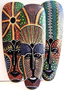 Dot Painted Aboriginal Style Mask Hand Painted Wood 50cm