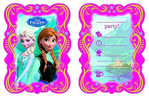 Preisvergleich Produktbild 12-teiliges Einladungskarten-Set * FROZEN - DIE EISKÖNIGIN * für Disney-Kindergeburtstag // 6 Einladungskarten plus 6 Umschläge // Kinder Geburtstag Party Mottoparty Einladung Plates Mädchen Prinzessin Disney