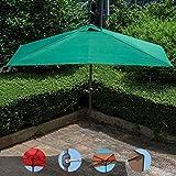 Parasol HFDIG La metà ombrellone Esterno ombrellone, 2.3x1.2m, terrazza Esterna manovella semicircolare, Piccolo Balcone terrazza Giardino Protezione UV