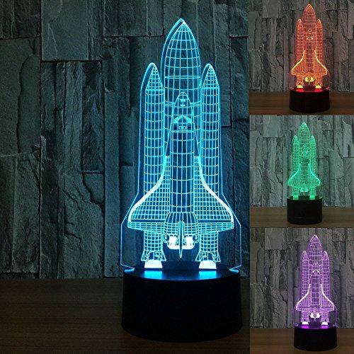 3D Illusion Lampe Neuheit optische LED-Licht 7 Farben ändern Raumfahrzeug Licht Touch Switch Tisch Schreibtischlampen für Kinder Schlafzimmer Geburtstag Geschenke