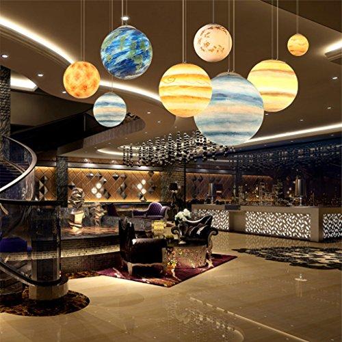 Pendelleuchte Harz Kronleuchter Kreative Universum Planet E27 Deckenleuchte Persönlichkeit Restaurant Cafe Bar Dekoration Kronleuchter (Color : Sun, Size : Diameter 30cm)