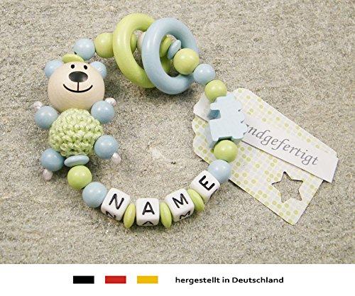 Baby Greifling Beißring geschlossen mit Namen | individuelles Holz Lernspielzeug als Geschenk zur Geburt & Taufe | Jungen Motiv Bär und Lokomotive in blau