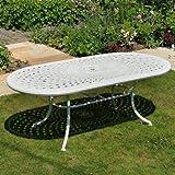 Weißes Catherine 210 x 105cm Ovales Gartenmöbelset Alu - 1 Weißer CATHERINE Tisch + 6 Weiße Jane Stühle