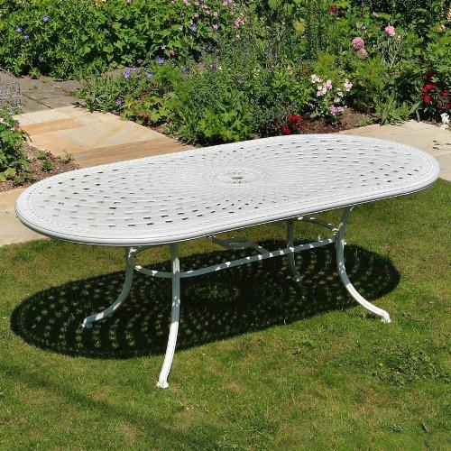 Weißes Catherine 210 x 105cm Ovales Gartenmöbelset Alu - 1 Weißer CATHERINE Tisch + 6 Weiße...