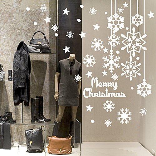 NT0317 Adesivi Murali - Fiocchi di neve pendenti - Vetrofanie natalizie - Misure 70x120 cm - bianco - Vetrine negozi per Natale, stickers, adesivi