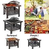 IKAYAA Brasero de Jardin Brasero Barbecue de Table en Métal avec Couvercle Puits de feu Foyer Rectangulaire Cheminée Extérieure de Foyer et Barbecue 66 X 66 X 49...