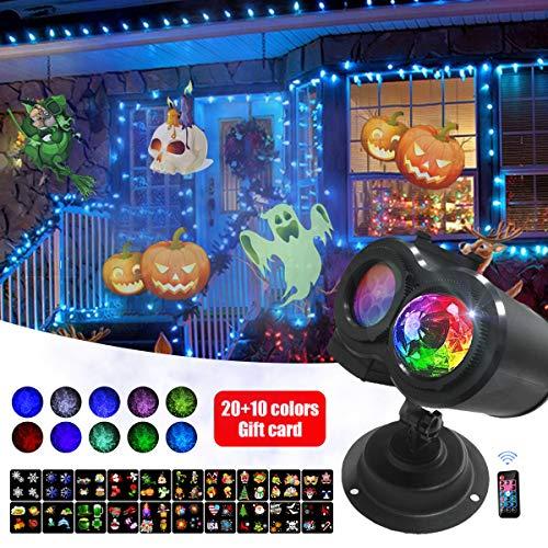 Weihnachten Dekoration Projektor, 2-in 1 Rotierende Ozean Welle Muster 20 Motiven 10 Farben mit Drahtloser Fernbedienung Wasserdichte LED Lichter Dekorative Halloween Weihnachten Geburtstag Party -
