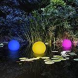 2-in-1 Solar Gartenleuchte Kugel - Schwimmkugel mit LED Beleuchtung / kabellos / schwimmfähig / 8 Farben / optionaler Farbwechsel / Ø 30 cm / IP67 / RGB / Kugel Solarlampe / Dekoleuchte / Außenleuchte / Gartenlampe / Dekokugel / Leuchtkugel / Kugelleuchte / Solarleuchte