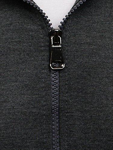 BOLF Kapuzenpullover Sweatshirt Hoodie Kapuze Pullover mit Reißverschluss Mix 1A1 Anthrazit_ST_7037