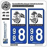 blasonimmat 2 Autocollants Plaque immatriculation Auto 988 Nouvelle-Calédonie - Le Cagou