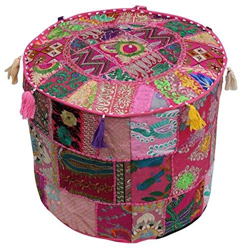 nandnandini–Schöne Handgefertigt Rund Rosa Weihnachten Deko Bohemian osmanischen Patchwork osmanischen indischen Stickerei indischen Vintage Baumwolle Pouf Fusshocker, Vintage Ottoman Bohemian Decor (Reinigung Runde Patches)