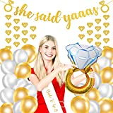 MMTX Hen Party Dekoration, Bachelorette Classy Team Braut Party Supplies mit Braut, Schärpe, Diamant Ring Folie Ballons, Konfetti Latex Ballons und Banner für Classy Bridal Shower, Bachelorette, Verlobung und Hen Night Party Pack von 27