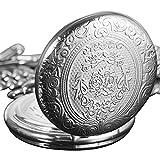 SIBOSUN Vintage Japanische Quarzwerk Taschenuhr Klassische Silberne Kette Arabische Ziffern