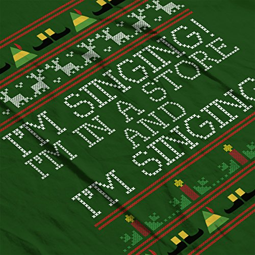 Im Singing Elf Quote Christmas Knit Men's T-Shirt Bottle Green