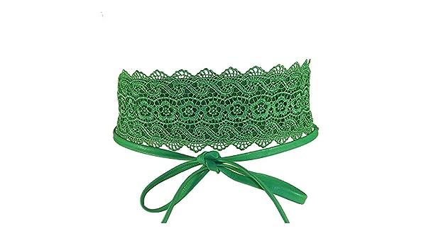 093d64dbd385 Chapeau-tendance - Ceinture femme Molly dentelle verte - - Femme   Amazon.fr  Vêtements et accessoires
