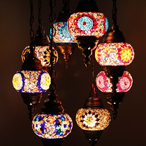 Handmade 8 Ball Turkish Mosaic Ceiling Chandelier Lamp Light Set, Lantern Globe, Tiffany Ottoman Moroccan Style Hanging Pendant Lights, by TK Bazaar (Ametrine)