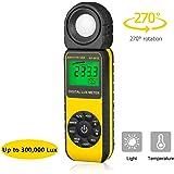 Beleuchtungsmessgerät, Digitale Luxmeter Lichtmessung Photometer 300,000 Lux, Daten halten, schneller Reaktion und LCD…