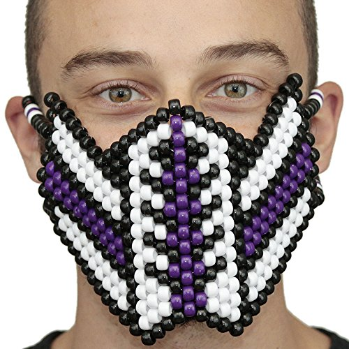 Venom Purple and White Spiderman V1 Kandi Mask by Kandi Gear, rave mask, halloween mask, beaded mask, bead mask for music fesivals and parties