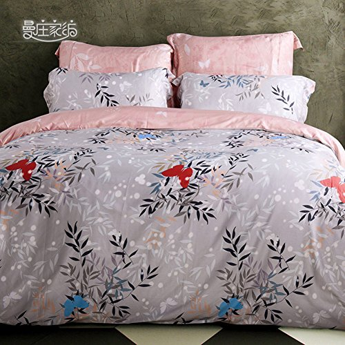 Stile classico 100% cotone fiore modello Set di biancheria da letto Mescolanza/miscele/filato misto(1Copripiumini 1Lenzuola 2Federe)-A (Filato Satin Stampe)