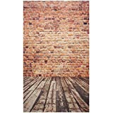 #4: BESTVECH 5x7FT Brick Wall Photography Backdrop Photo Wooden Floor Background Studio