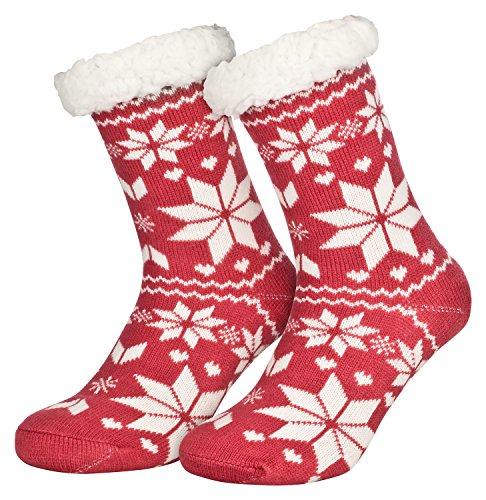 Piarini 1 Paar Kuschelsocken mit ABS Sohle | warme Damen Socken | Wintersocken mit Anti Rutsch Noppen | Eiskristall- Erdbeer-Rot (One-Size)