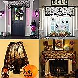 LAEMILIA Halloween Vorhang Spitze Fledermaus Spinnennetz Gothic Party Wand Fenster Kamin Abdeckung Deko - 5
