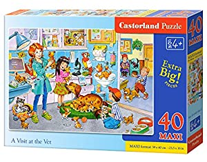 CASTORLAND B-040186 - Puzzle (40 Piezas), diseño con Texto A Visit At The Vet