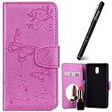 Nokia 3 Hülle,Nokia 3 Hülle Leder Rosa,Slynmax Spiegel Schmetterling Ledertasche Leder Flip Stand Case Card Slot Leder Tasche Case Karteneinschub Spiegel Schutzhülle Bumper Handyhüllen für Nokia 3
