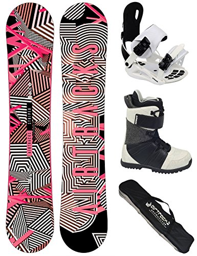 AIRTRACKS Damen Snowboard Set / Stripes Lady Rocker 147 + Snowboard Bindung Star W + Snowboardboots Star W 39 + Sb Bag