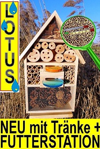 #Insektenhotel, LOTUS-Ausführung (mit wasserabweisender Oberfläche), MIT 2 x SICHTGLAS ca. 8 mm und 11 mm (2 BEOBACHTUNGSRÖHRCHEN aus Glas, mit Zellstoff-Verschluss und Anflughilfe) MIT TRÄNKE SD und FUTTERPLATZ, Futterstelle, XXL viele Farben Insektenkasten farbige Nistkästen Holz Insekten,Insektenkasten, Insektenhaus, funktionelle Garten Deko passend zum Nistkasten, Vogelhaus oder Vogelhäuschen#