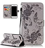 Roreikes Apple iphone 7 Plus H�lle, iphone 7 Plus Case (5.5 Zoll), Muster PU Leder Handyh�lle Flip Wallet Cover Blume Schmetterling Pattern H�lle Bookstyle Tasche mit Strap Portable Carrying Schutz Cases Etui Lederh�lle Handytasche mit Magnetic Closure Stand ID Card Slots Pouch Soft Silikon f�r Apple iphone 7 Plus (5.5 Zoll) (Grau) Bild
