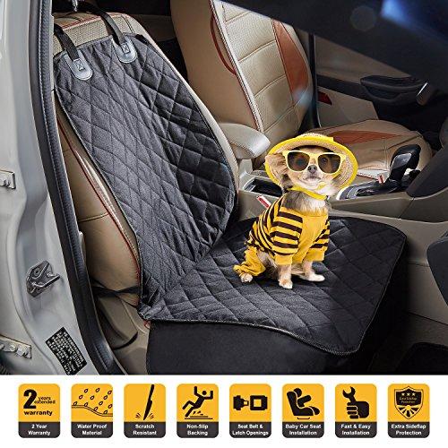 Tech Traders® - Coprisedile anteriore impermeabile per cani, in gomma antiscivolo, protezione per tutti i tipi di veicoli, auto, camion e SUV, resistente alle intemperie, facile da pulire, resistente con cintura di ancoraggio
