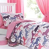 Just Kidding! Gallop Horses Pink Blue Girls Single Duvet Quilt Cover Bedding Set