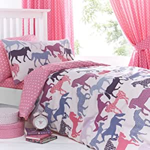 Just Kidding! Gallop Horses Pink Blue Girls Double Duvet Quilt Cover Bedding Set