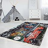 myshop24h Kinder-Teppich Waschbar Waschmaschine Teppich Druckteppich Flachflor Dünn Polyester Kinderzimmer 130x200 cm, Muster:Rennauto