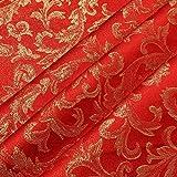 Stoff Polyester Jacquard Ornament rot gold Lurex Goldbrokat