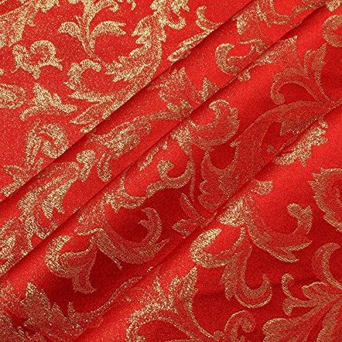 Stoff Polyester Jacquard Ornament rot gold Lurex Goldbrokat Barock Rokoko 300 cm