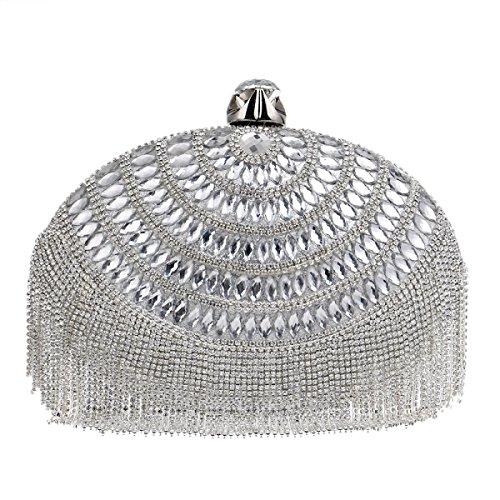 Strawberryer Embrayage Oval Tassel Banquet Sac De Soirée Sac Bandoulière Décoration Sacs à Main silver