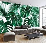 (200X140CM), Alte Zeitung 3D tapete - Einfache und frische Regenwald Pflanze Bananenblatt Garten Wandbild - Wallpaper Poster Wanddekoration von Bestwind