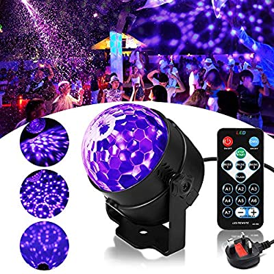 Disco Lights for Parties SOLMORE UV Lights Disco Ball Lights 3W LED Black Lights 3 Modes Music Activated Party Lights for Children Christmas Birthday Karaoke Festival Indoor Decoration with Remote