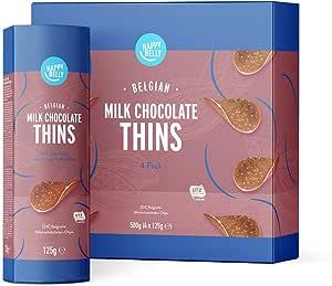 Marchio Amazon - Happy Belly Chips di cioccolato al latte belga 4 x 125g