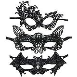 com-four® 3x Reizvolle Venezianische Maske, sexy Augenmaske in verschiedenen Designs, aus hochwertiger Spitze (03 Stück - Mix 1)