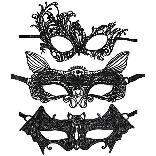 lle Venezianische Maske, sexy Augenmaske in verschiedenen Designs, aus hochwertiger Spitze (Set 2) (3x Kostüm)