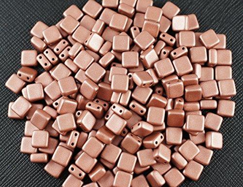 40-pz-tile-beads-ceco-pressato-perle-di-vetro-con-due-fori-piazza-piastre-6x6x29-mm-terra-metallic-r