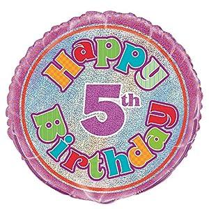 Unique Party Globo Foil cumpleaños Happy 5th Birthday, 45 cm (55493) , Modelos/colores Surtidos, 1 Unidad