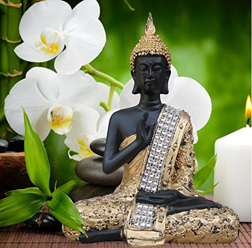 TIEDRIBBONS® Buddha Idol ( 7 Inch X 4.5 Inch,Golden)