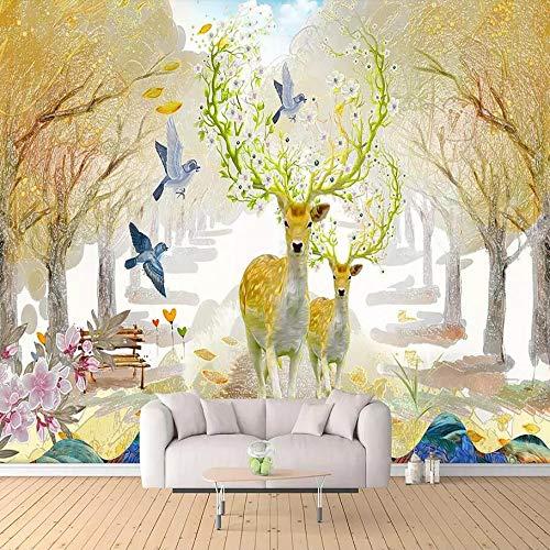 3D Dream Wald Elch TV Hintergrundbild Wallpaper Wallpaper Ölbild Hotel Nordic Seamless Große Fresken, 350 × 245 cm