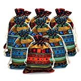 Lenhar 12 Pieces of Ethnic Style Linen Gift Pouch Jewelry Double Drawstring Bag (Randam)